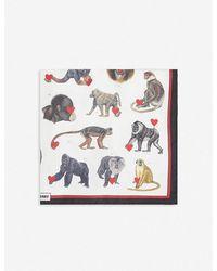 Burberry Monkey Hearts Print Silk Scarf - Multicolor
