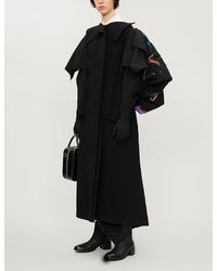 Yohji Yamamoto Asymmetric Wool-blend And Cotton Coat - Black