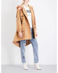 Moschino Box-print Cotton-felt Parka Coat - Brown