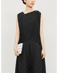 Pleats Please Issey Miyake Triangle-cut Crepe Top - Black
