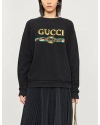 Gucci Sequined Logo Sweatshirt - Black