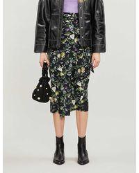 Never Fully Dressed Jaspre High-waist Graphic-print Satin Midi Skirt - Black