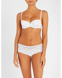 Aubade Wandering Stretch-lace Half-cup Bra - White