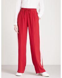 SERENA BUTE LONDON Side-stripe Wide-leg Silk-crepe jogging Bottoms - Red
