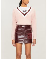 Sandro Contrast Striped-panel Wool-blend Sweater - Pink