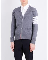 Thom Browne - Striped-sleeve Merino Wool Cardigan - Lyst