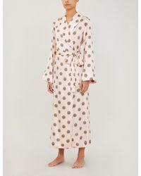 YOLKE Sun-print Stretch-silk Dressing Gown - Pink