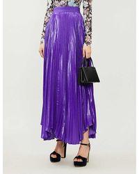 Alice + Olivia Katz Pleated Silk-blend Maxi Skirt - Purple