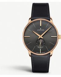 Junghans 027/5903.00 Meister Hand-winding Stainless Steel And Leather Watch - Black