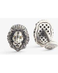 Tateossian Mechanical Lion Swarovski Crystal And Rhodium-plated Metal Cufflinks - Grey