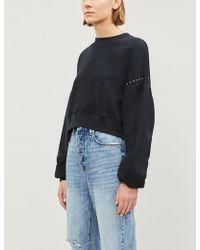 The Kooples - Studded Cropped Cotton-jersey Sweatshirt - Lyst