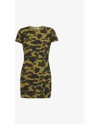 A Bathing Ape 1st Camo Graphic-print Cotton-blend Jersey Mini Dress - Green