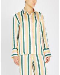 21381f6bb1 Lyst - Dries Van Noten Floral Silk Pajama Shirt in Orange