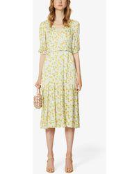 Kitri Connie Floral-print Woven Midi Wrap Dress - Yellow