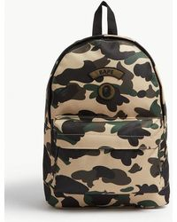 A Bathing Ape Logo Camouflage Canvas Backpack - Yellow
