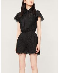 Elie Saab High-rise Cotton-blend Broderie Anglaise Shorts - Black