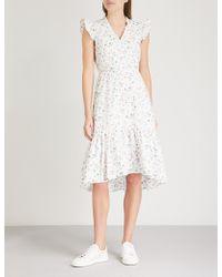 Claudie Pierlot - Floral-print Ruffled Cotton Dress - Lyst