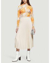 TOPSHOP Cream Pu Pleated Midi Skirt - Natural