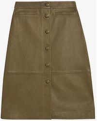Ted Baker Mariiah High-waisted Leather Pencil Skirt - Green