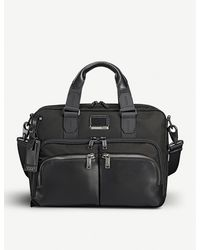 Tumi Albany Slim Commuter Leather And Fabric Brief Bag - Black