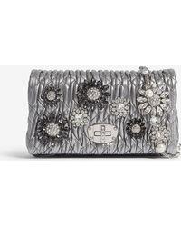Miu Miu - Miu Chromo Silver Crystal-embellished Matelassé Leather Shoulder Bag - Lyst