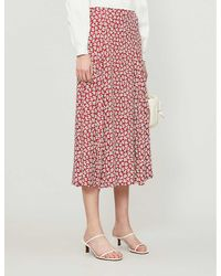 Reformation Zoe Floral-print High-waisted Woven Midi Skirt - Red
