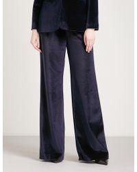 Self-Portrait - Wide-leg Velvet Trousers - Lyst