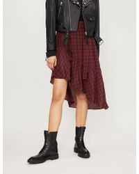 9acd3087f The Kooples - Check-pattern Silk-crepe Skirt - Lyst