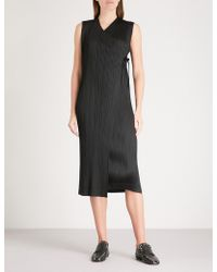 Pleats Please Issey Miyake - Rapped Form Pleated Wrap Dress - Lyst