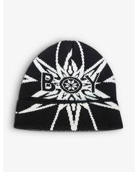 BOY London Star-print Knitted Beanie - Black