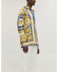 Versace Baroque-print Regular-fit Silk Shirt - Blue