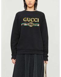 Gucci Oversize Sweatshirt With Logo - Black