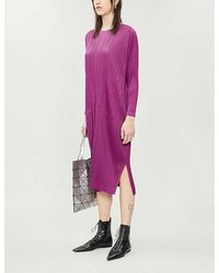 Pleats Please Issey Miyake Pleated Long-sleeved Woven Dress - Pink
