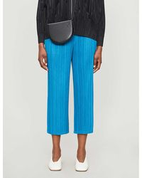 Pleats Please Issey Miyake Pleated Cropped Wide-leg High-rise Woven Pants - Blue