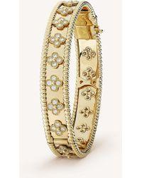 Van Cleef & Arpels - Perlée Clover Gold And Diamond Medium Bracelet - Lyst