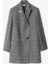 Zadig & Voltaire Marcovy Checked Wool Coat - Grey