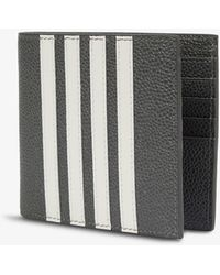 Thom Browne Striped-trim Grained-leather Billfold Wallet - Grey