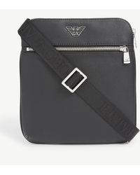 Emporio Armani Logo-print Grained Leather Cross-body Bag - Black