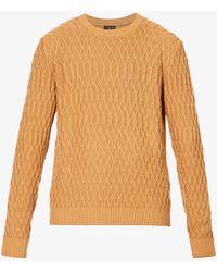 Oscar Jacobson Fisherman Cable-knit Cotton Jumper - Orange