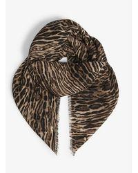 Saint Laurent Leopard-print Silk Scarf - Multicolor