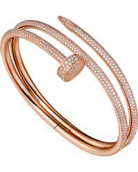Cartier - Juste Un Clou 18ct Pink-gold And Diamond Double Bracelet - Lyst