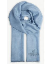Corneliani - Cashmere-cotton Blend Logo Scarf - Lyst