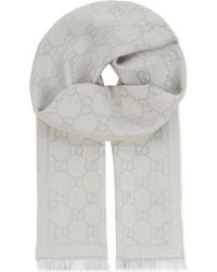 Gucci GG Logo Wool Scarf - Gray