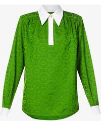 CASABLANCA Geometric-pattern Jacquard Shirt - Green