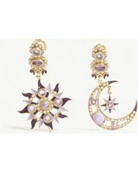 Percossi Papi - Sun Moon And Star Gemstone Embellished Drop Earrings - Lyst