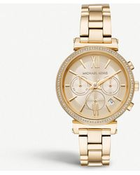 Michael Kors - Mk6559 Sofie Gold-plated Stainless Steel Chronograph Watch - Lyst