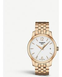 Tissot - T063.210.33.037.00 Tradition Rose Gold-toned Stainless Steel Watch - Lyst