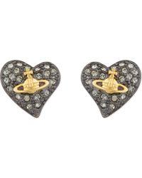 Vivienne Westwood - Tiny Diamanté Heart Studs - Lyst