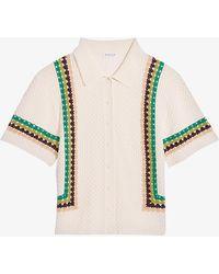 Claudie Pierlot Melana Crochet-detail Woven Polo Shirt - Multicolour
