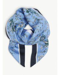 Erdem Hogarth Floral-print Silk Scarf - Blue